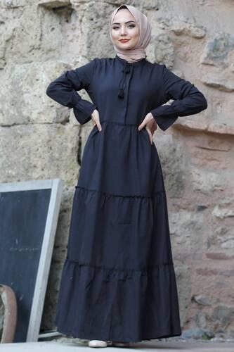 Tesettür Dünyası - Pileli Kolları Lastikli Tesettür Elbise TSD0173 Siyah