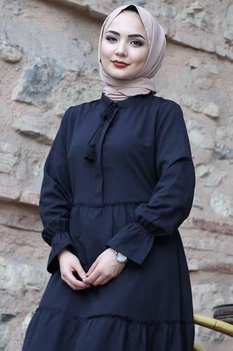 Tesettür Dünyası - Pileli Kolları Lastikli Tesettür Elbise TSD0173 Siyah (1)