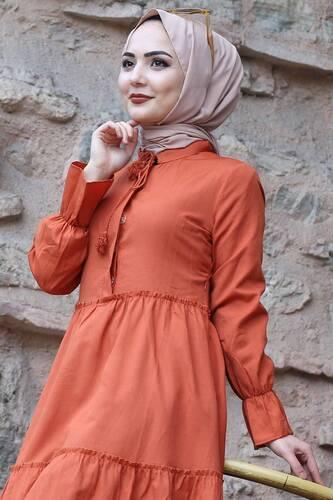 Tesettür Dünyası - Pileli Kolları Lastikli Tesettür Elbise TSD0173 Turuncu (1)