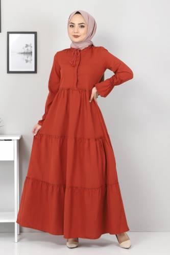Pileli Kolları Lastikli Tesettür Elbise TSD0173 Kiremit - Thumbnail