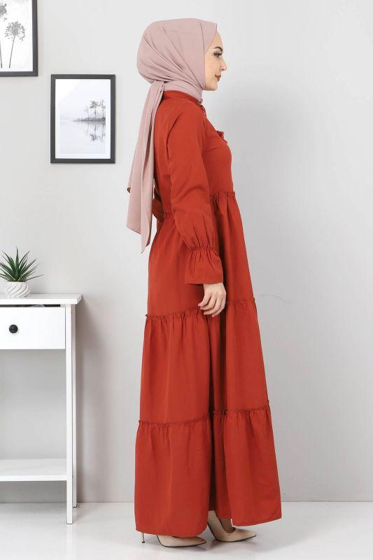 Pileli Kolları Lastikli Tesettür Elbise TSD0173 Kiremit