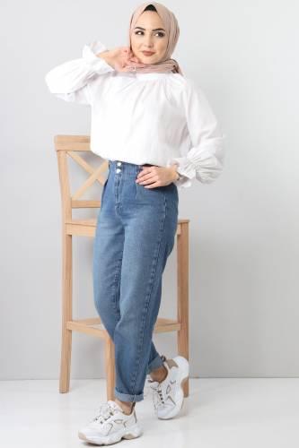 Pileli Kot Pantolon TSD8397 Açık Mavi - Thumbnail