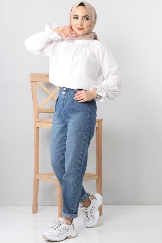 Pileli Kot Pantolon TSD8397 Açık Mavi