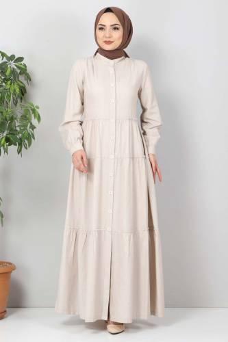 Tesettür Dünyası - Pileli Tesettür Elbise TSD10621 Bej