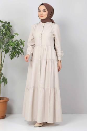 Tesettür Dünyası - Pileli Tesettür Elbise TSD10621 Bej (1)