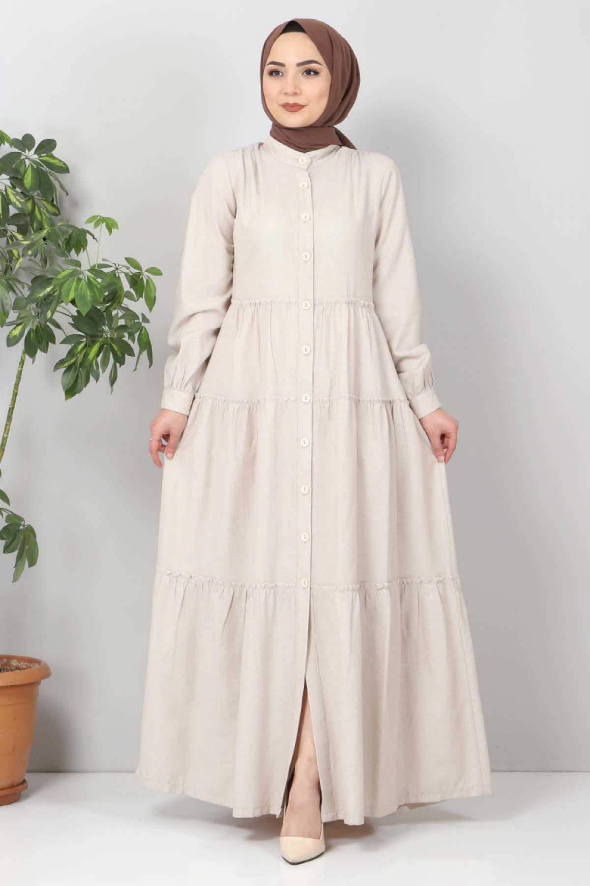 Pileli Tesettür Elbise TSD10621 Bej