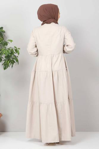 Pileli Tesettür Elbise TSD10621 Bej - Thumbnail