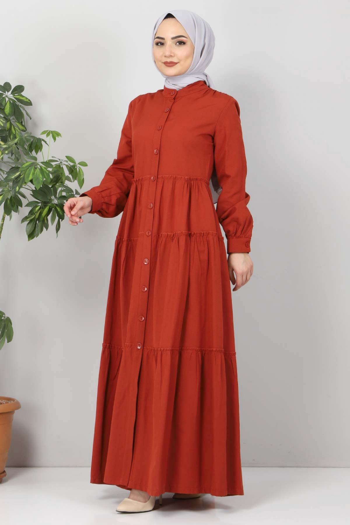 Pileli Tesettür Elbise TSD10621 Kiremit