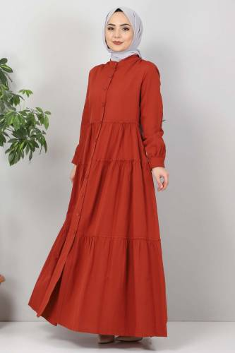 Pileli Tesettür Elbise TSD10621 Kiremit - Thumbnail