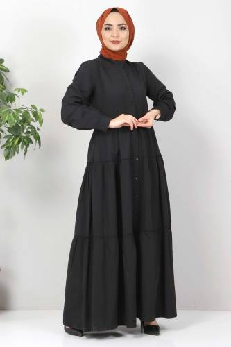 Pileli Tesettür Elbise TSD10621 Siyah - Thumbnail
