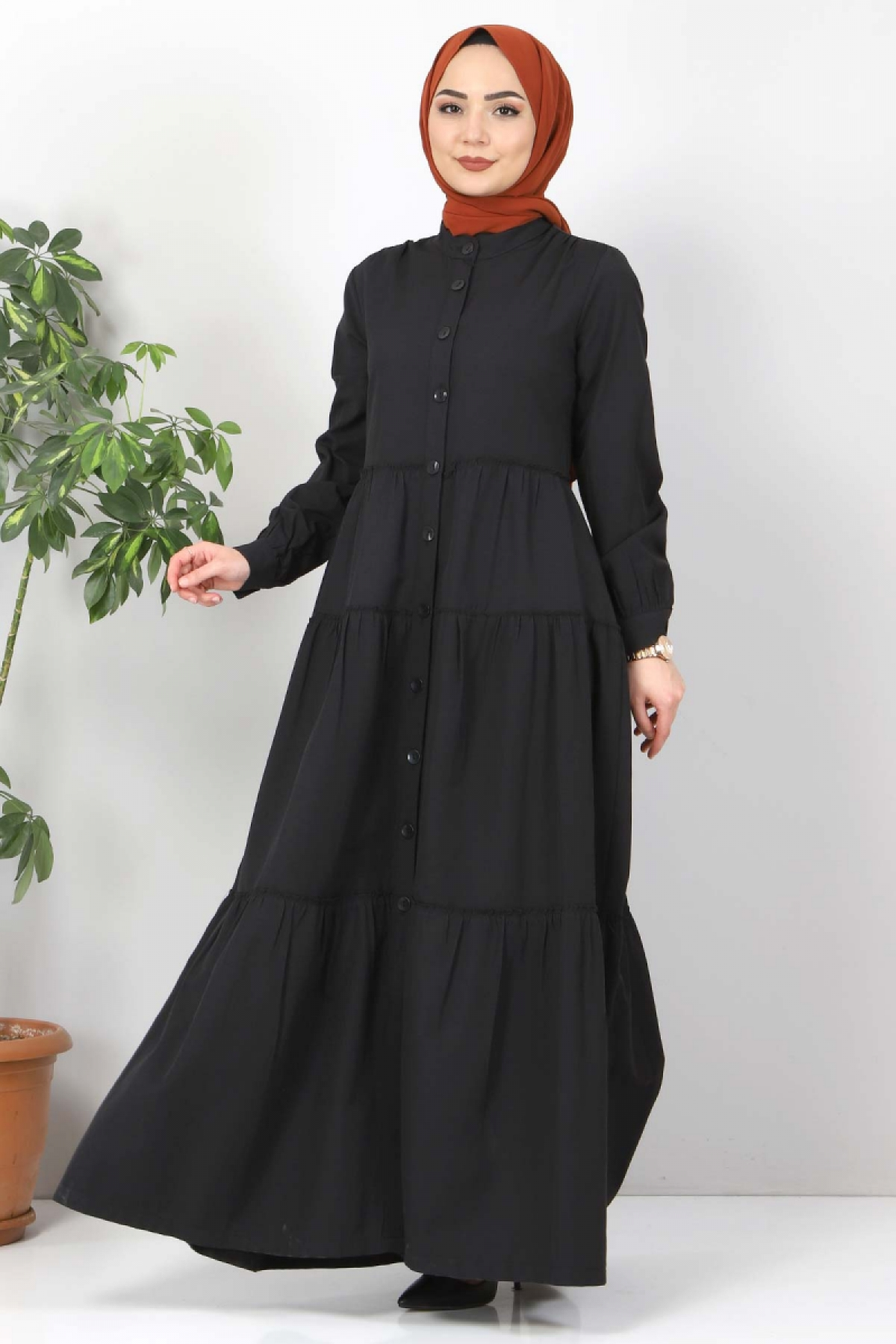 Pileli Tesettür Elbise TSD10621 Siyah