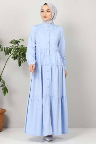Pileli Tesettür Elbise TSD10621 Bebe Mavisi - Thumbnail