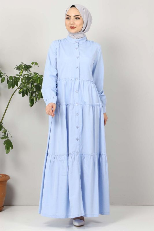 Pileli Tesettür Elbise TSD10621 Bebe Mavisi