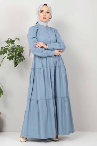Pileli Tesettür Elbise TSD10621 Kot Mavisi - Thumbnail