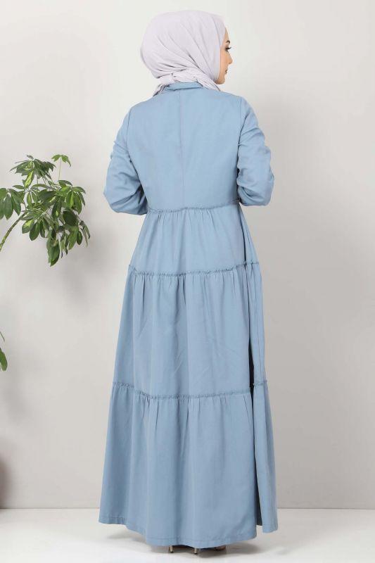 Pileli Tesettür Elbise TSD10621 Kot Mavisi