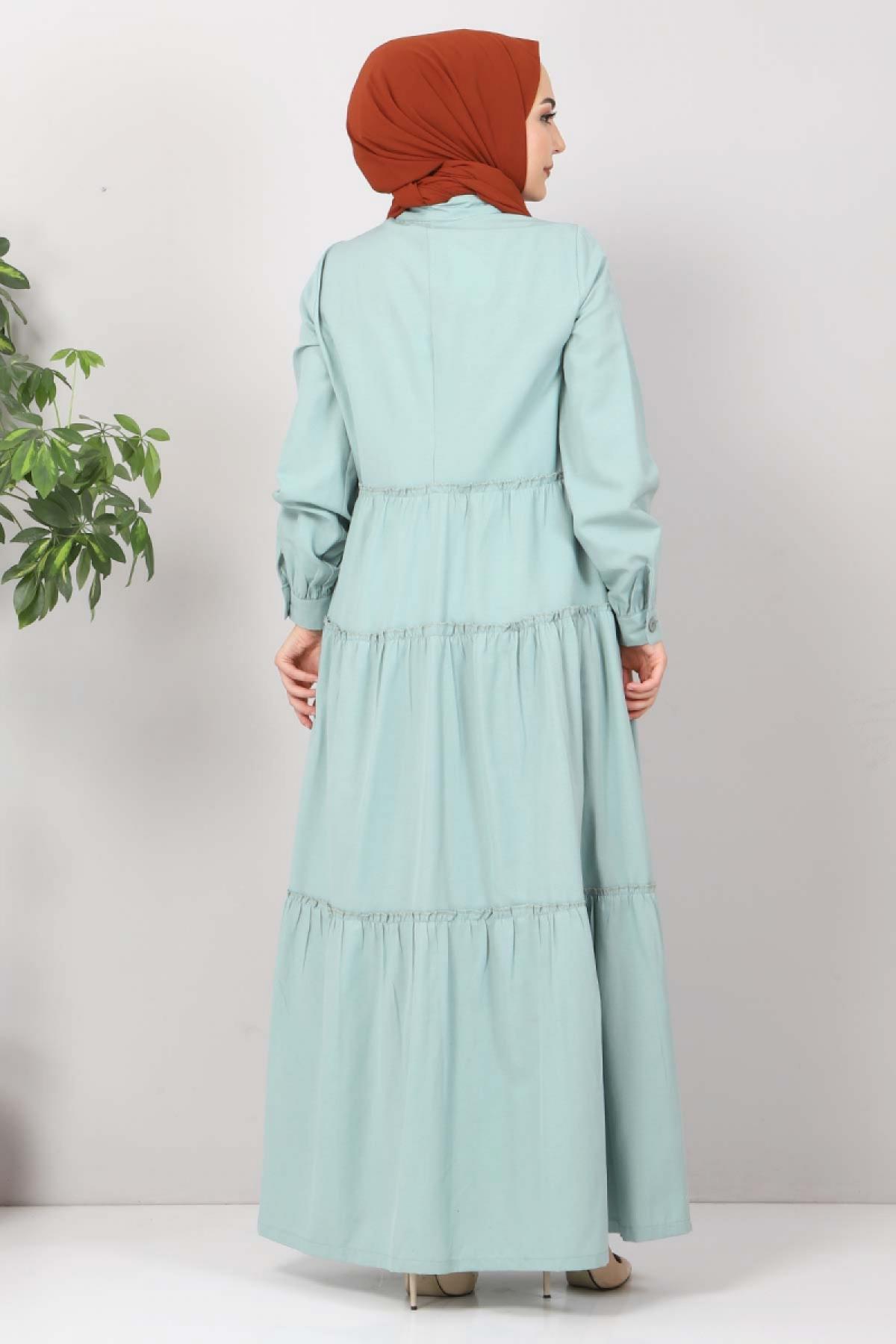 Pileli Tesettür Elbise TSD10621 Mint
