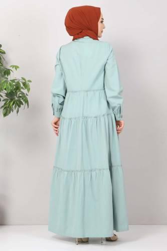 Pileli Tesettür Elbise TSD10621 Mint - Thumbnail