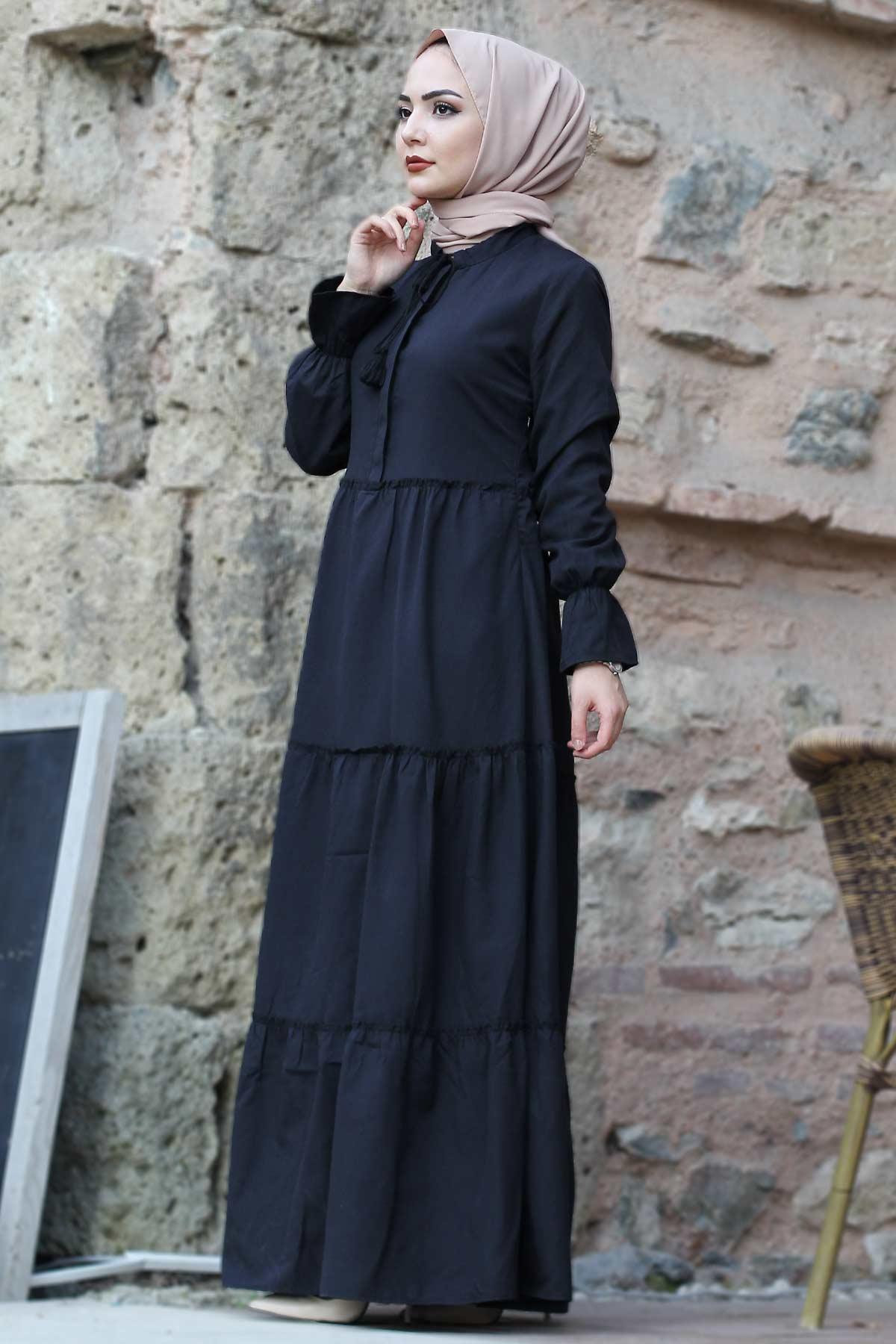 Pleated Elastic Sleeve Hijab Dress TSD0173 Black