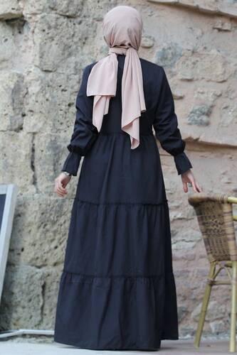 Pleated Elastic Sleeve Hijab Dress TSD0173 Black - Thumbnail