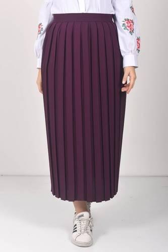Tesettür Dünyası - Pleated Hijab Skirt TSD0068 Plum