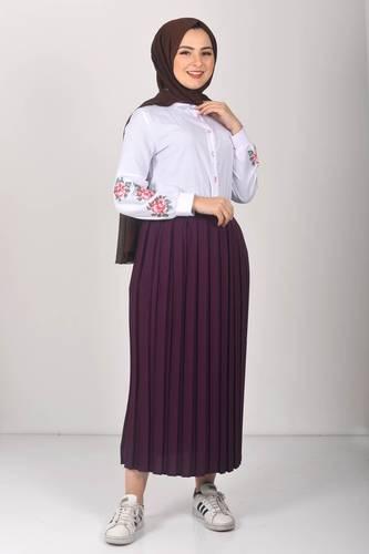 Tesettür Dünyası - Pleated Hijab Skirt TSD0068 Plum (1)