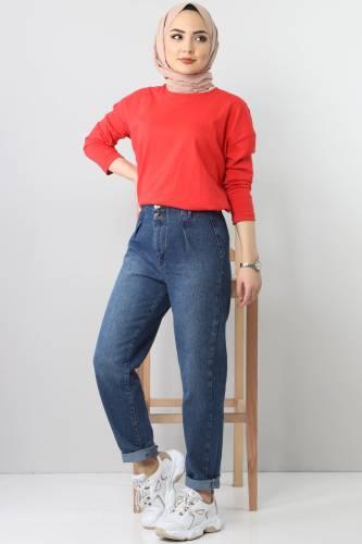 Pleated Jeans TSD8397 dark Blue - Thumbnail