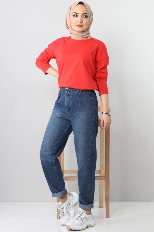 Pleated Jeans TSD8397 dark Blue