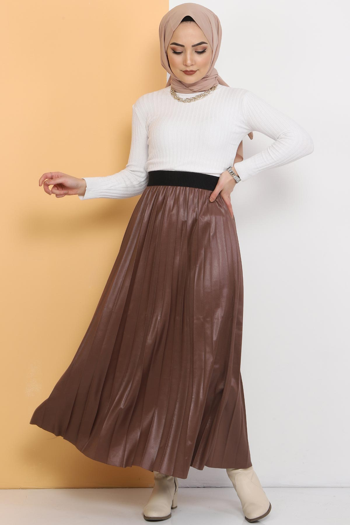 Pleated Leather Look Skirt TSD1741 Brown