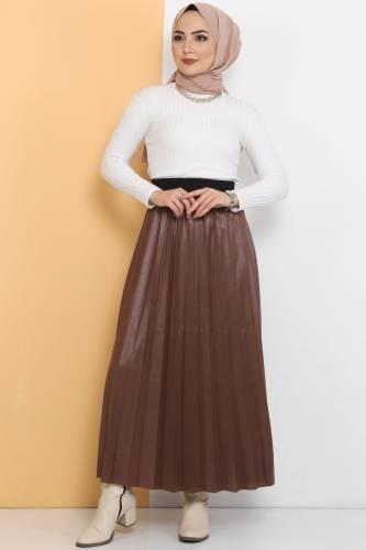 Pleated Leather Look Skirt TSD1741 Brown - Thumbnail