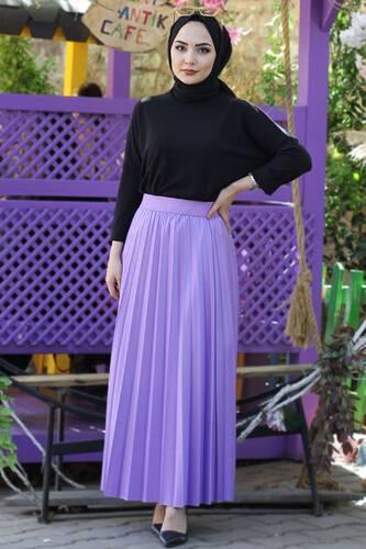 Tesettür Dünyası - Pleated Leather Look Skirt TSD1741 Lilac