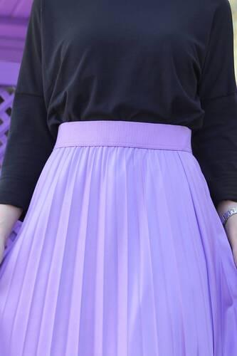 Tesettür Dünyası - Pleated Leather Look Skirt TSD1741 Lilac (1)