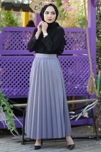 Tesettür Dünyası - Pleated Leather Skirt TSD1741 Gray