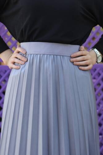 Tesettür Dünyası - Pleated Leather Skirt TSD1741 Gray (1)