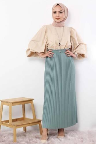 Pleated Pencil Skirt 1757 light blue - Thumbnail