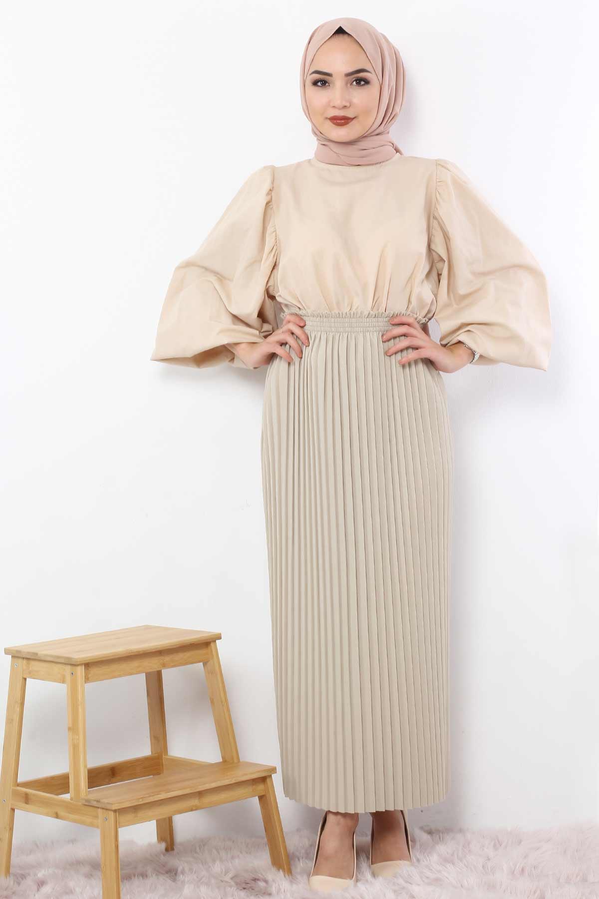 Pleated Pencil Skirt 1757 Beige