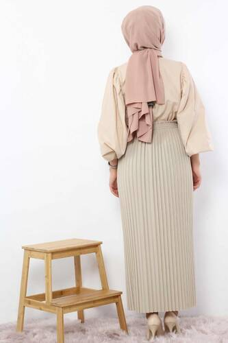 Pleated Pencil Skirt 1757 Beige - Thumbnail