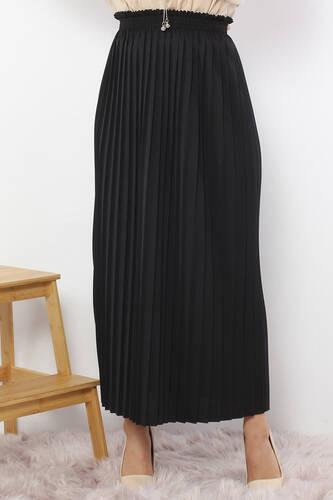 Pleated Pencil Skirt 1757 Black - Thumbnail