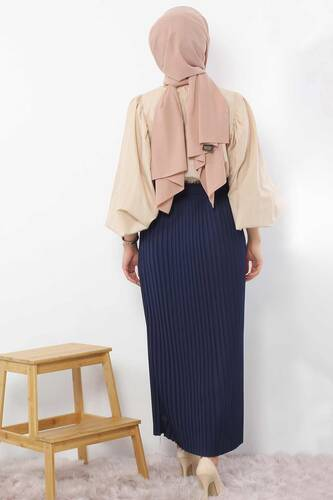 Pleated Pencil Skirt 1757 Navy Blue - Thumbnail