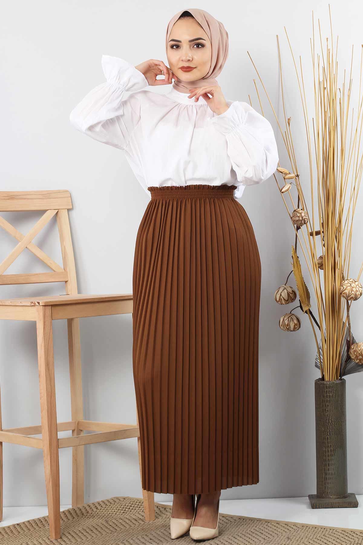 Pleated Pencil Skirt 1757 Tan