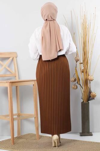 Pleated Pencil Skirt 1757 Tan - Thumbnail