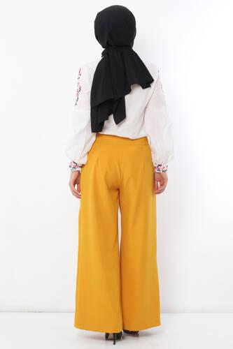 Pleated Skirt Trousers TSD2789 Mustard - Thumbnail