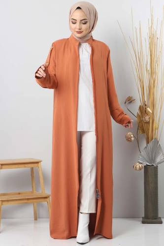 Plus Size Buttoned Abaya TSD8889 Orange - Thumbnail