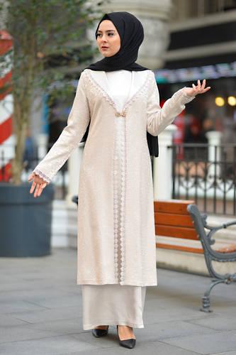 Tesettür Dünyası - Plus Size Hijab Evening Dress TSD2249 Ecru