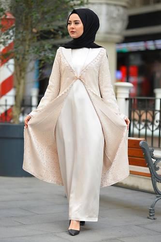 Tesettür Dünyası - Plus Size Hijab Evening Dress TSD2249 Ecru (1)
