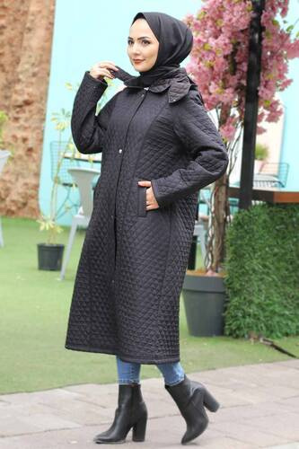 Plus Size Long Quilted Coat TSD0756 Black - Thumbnail