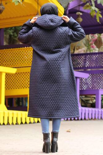 Plus Size Long Quilted Coat TSD0756 Navy Blue - Thumbnail