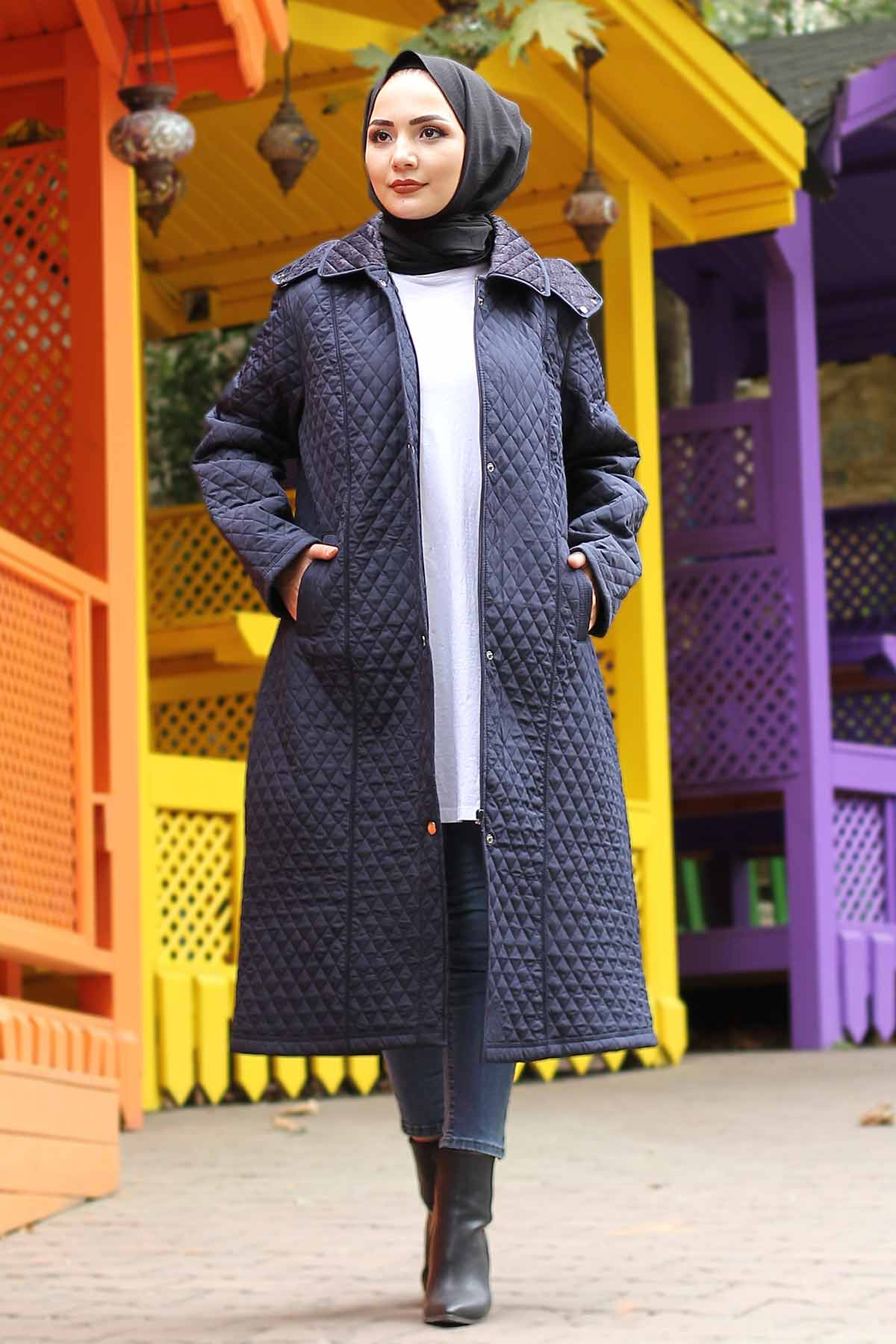 Plus Size Long Quilted Coat TSD0756 Navy Blue