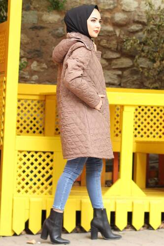 Plus Size Quilted Coat TSD0772 Camel - Thumbnail