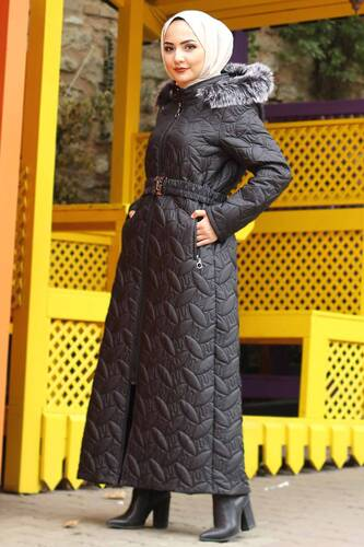 Plus Size Quilted Coat TSD9904 Black - Thumbnail