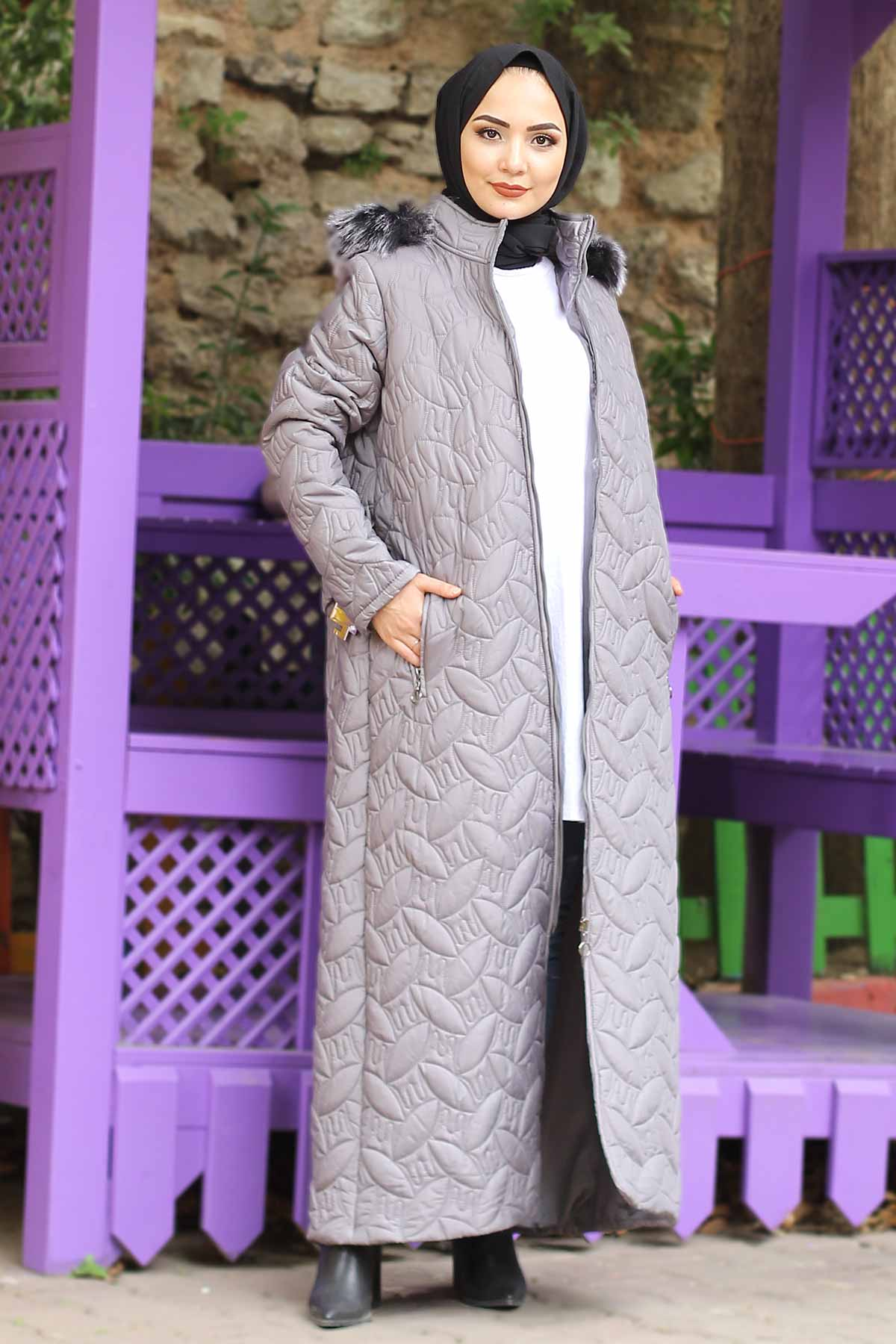 Plus Size Quilted Coat TSD9904 Gray